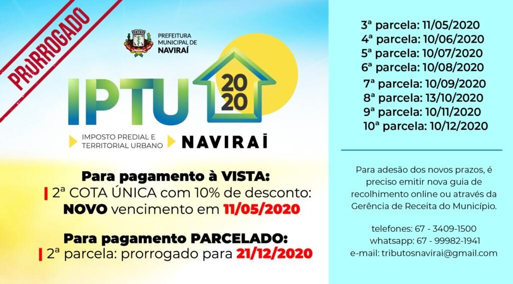 Prefeitura de Naviraí prorroga prazos para pagamento do IPTU 2020